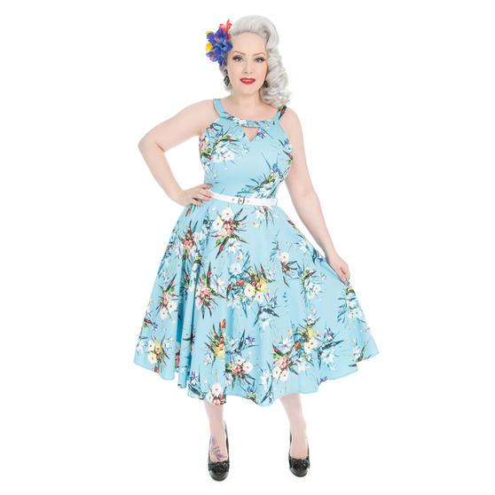 Hearts & Roses London Blue Bouquet 1950s Dress