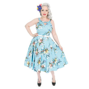 Hearts & Roses London Blue Bouquet 1950s Dress