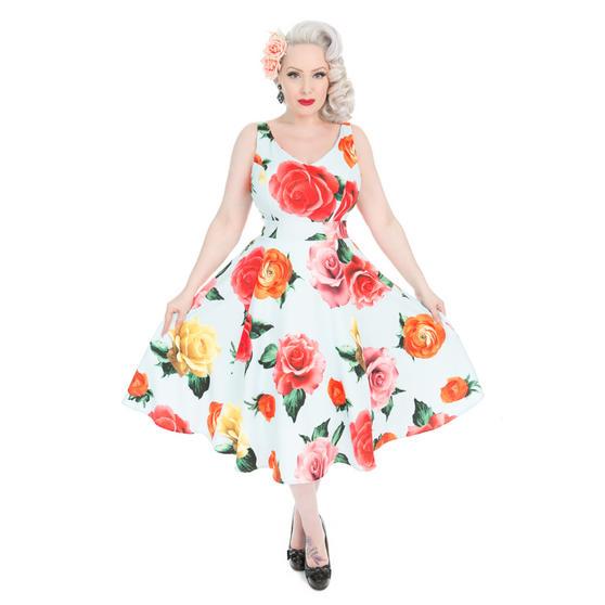 Hearts & Roses London Oversize Flower Print 1950s Dress