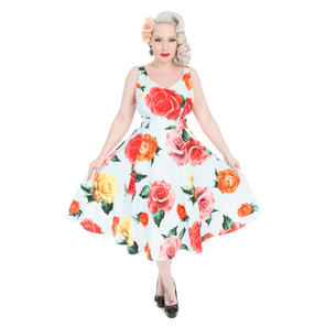 Hearts & Roses London Oversize Flower Print 1950s Dress