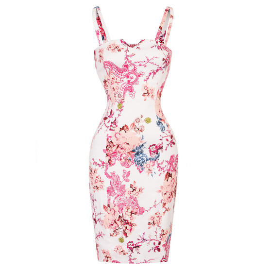 Hearts & Roses London White Floral Pencil Dress