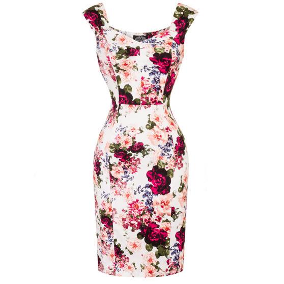 Hearts & Roses London Vintage Rose Pencil Dress
