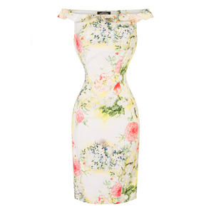 Hearts & Roses London Yellow Floral Pencil Dress