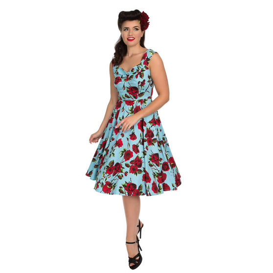 Hearts & Roses London Blue and Red Floral 1950s Dress