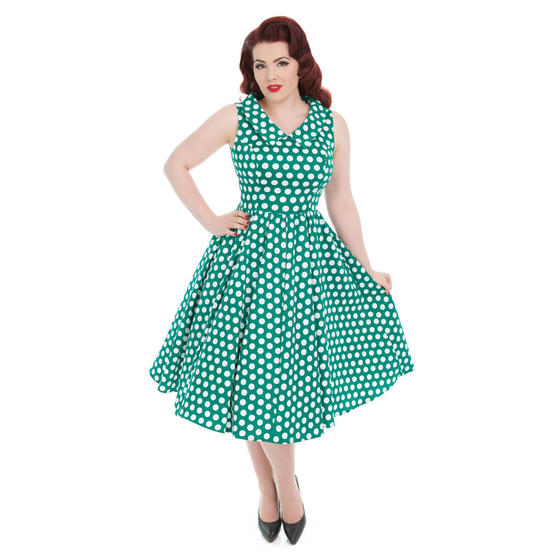 Hearts & Roses London Green White Polka Dot 1950s Dress