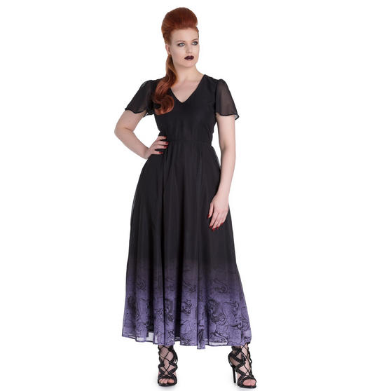 Hell Bunny Spin Doctor Evadine Mythical Mermaid Purple Gothic Long Maxi Dress