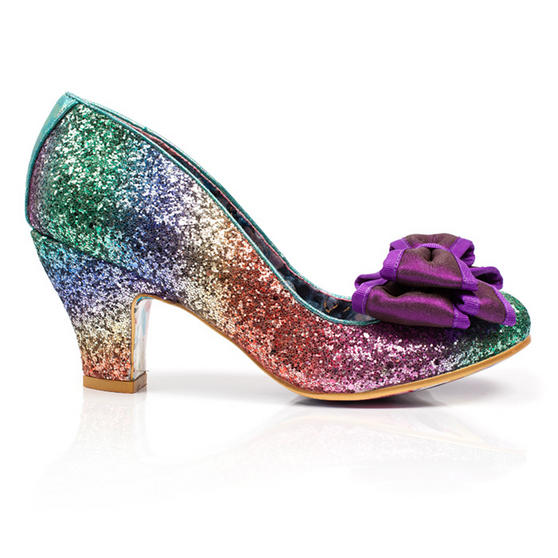 Irregular Choice Lady Ban Jo Purple Bow Rainbow Glitter Designer Retro Shoes