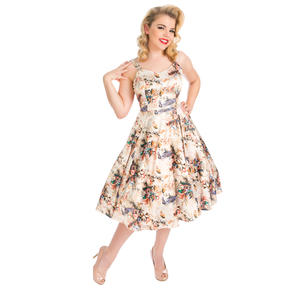 Hearts & Roses London Cream Floral Bird 1950s Dress