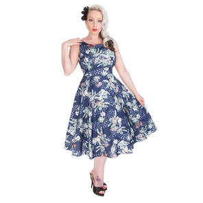 Hearts & Roses London Blue Floral Bird 1950s Dress