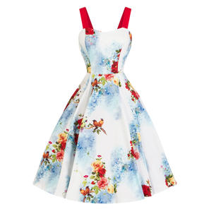 Hearts & Roses London White Floral Bird 1950s Dress