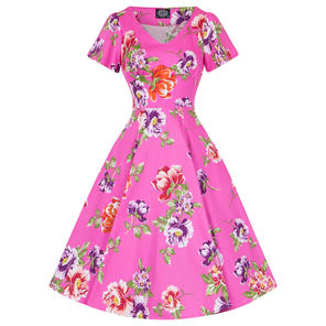 Hearts & Roses London Pink Floral 1950s Dress