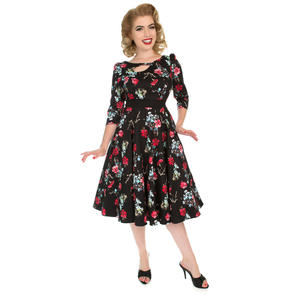 Hearts & Roses London Black Red Floral 1950s Dress