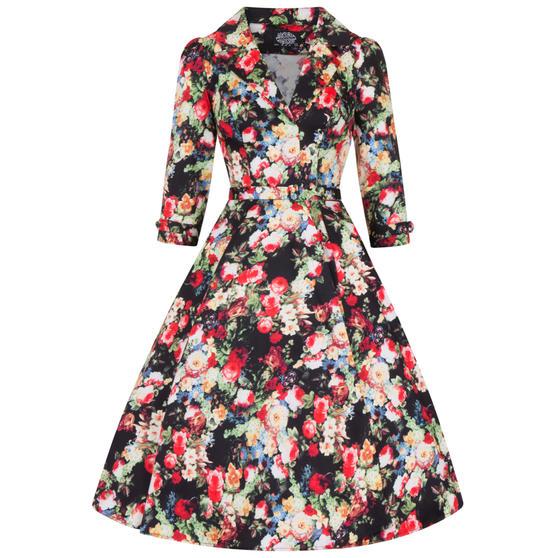 Hearts & Roses London Dark Wild Rose 1950s Dress
