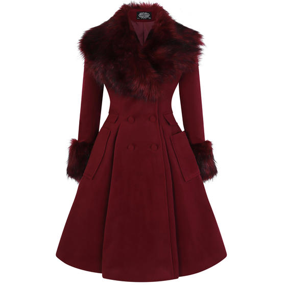 Hearts & Roses London Fiona Burgundy Faux Fur Classic Vintage 1950s Retro Coat