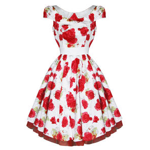 c1bd838ef71bb Hearts & Roses London Bianca Rose White Floral Vintage 1950s Party Prom  Dress