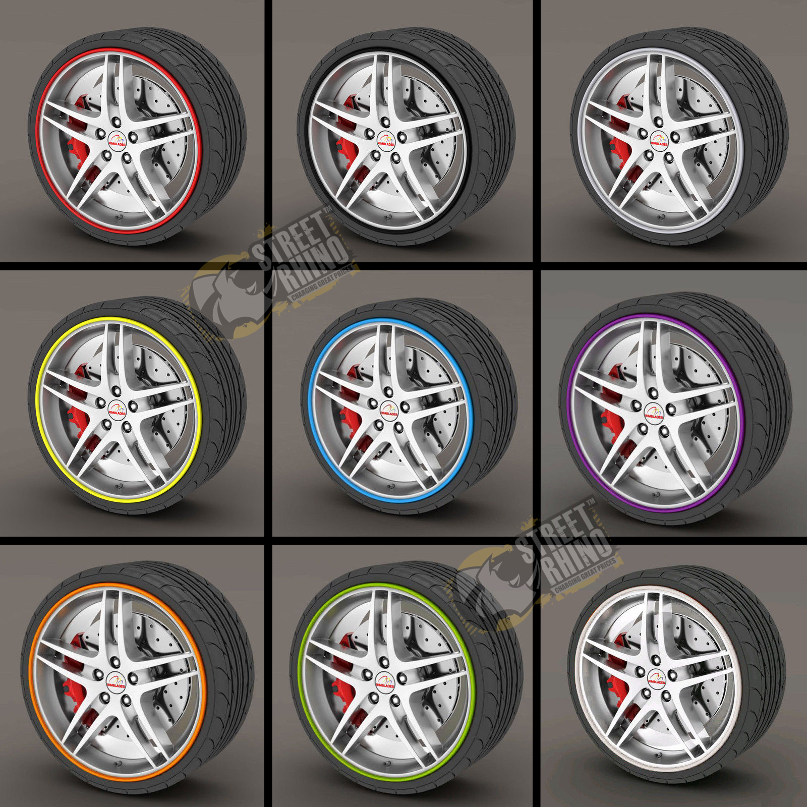 Yellow RIMBLADE Car Alloy Wheel Rim Protectors Tire Guard Line Rubber Moulding