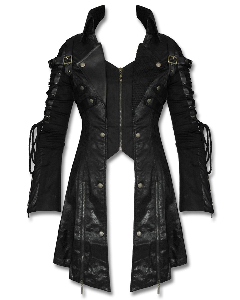 Punk Rave Gift Schwarz Damen Jacke Mantel Goth Steampunk Kunstleder ... db75f02f0c