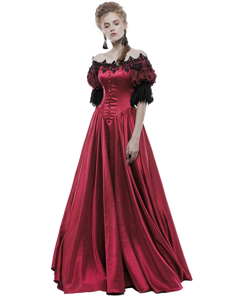 Gothic Wedding Gown: Punk Rave Gothic Wedding Dress Long Red Steampunk VTG