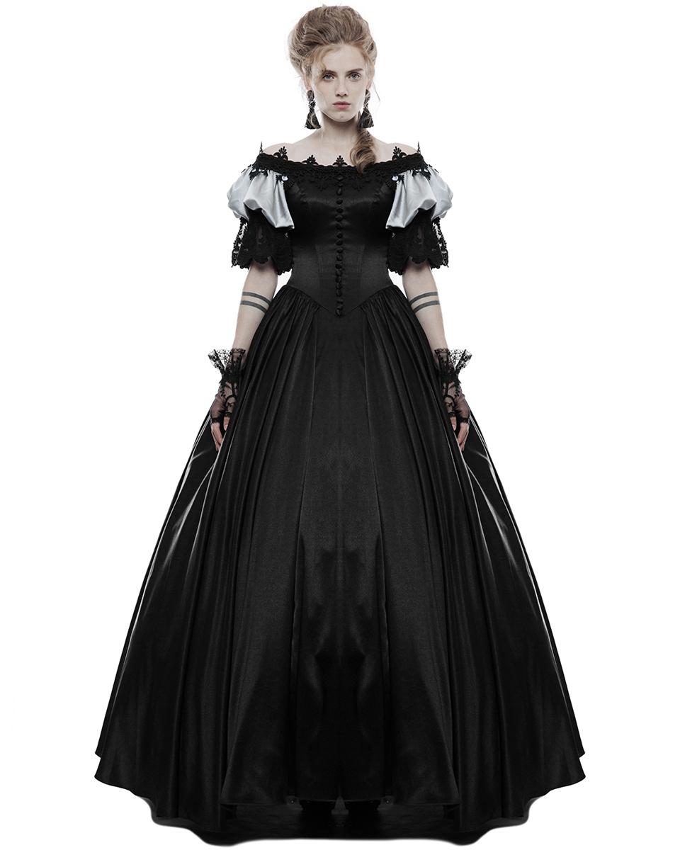 Punk Rave Gothik Hochzeitskleid lang schwarz Steampunk Vintage ...