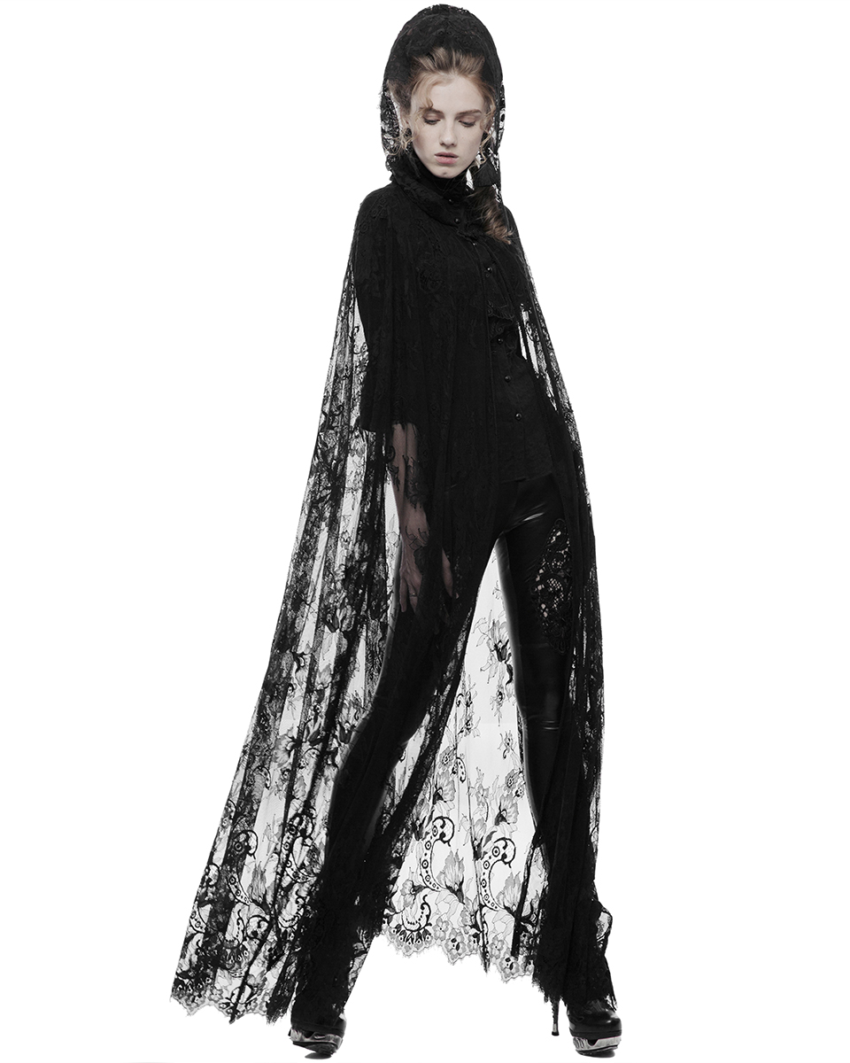 Punk Rave Womens Gothic Lace Cloak Floral Long Black Steampunk Witch ...