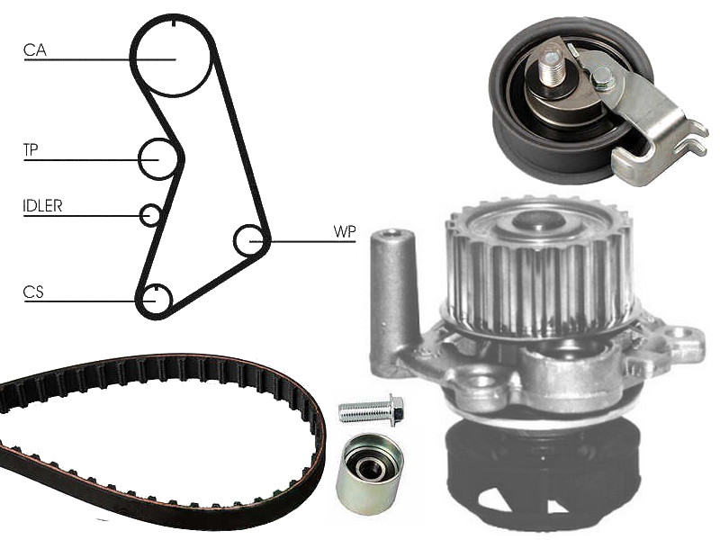 Water Pump /& Cam Belt Kit For Audi Tt Coupe//Roadster 1.8 /& 1.8T Inc Quattro