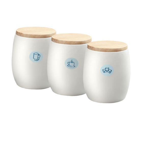 White Ceramic Tea Coffee Sugar Canisters With Wooden Lids Set