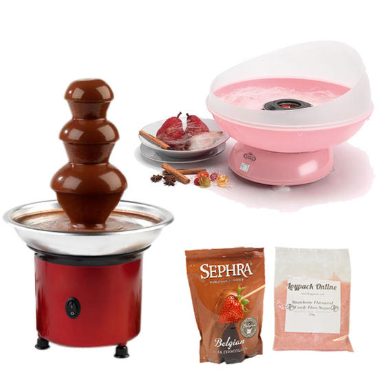 giles u0026 posner candy floss maker mini red chocolate fountain 250g strawberry sugar belgian milk chocolate