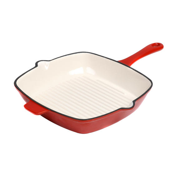 La Potiere Cast Iron Grill Pan, 26cm, Red