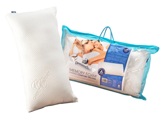 Dreamtime MFDT82099 Memory Foam Choice Comfort Pillow, Cotton, White, Set of Two