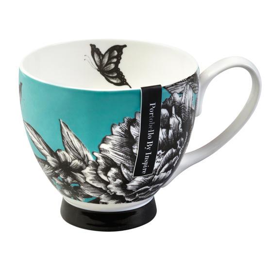 Portobello Zen Garden Turquoise Bone China Footed Mug