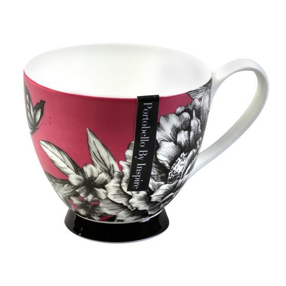 Portobello Sandringham Zen Garden Pink Bone China Mug