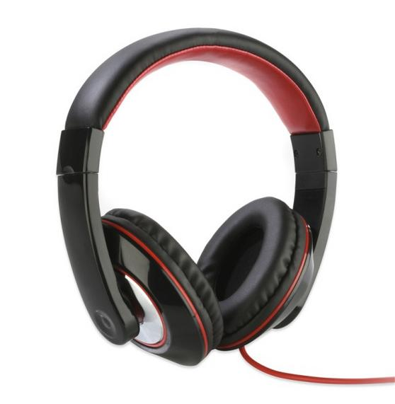 Intempo Over Ear Black With Red Trin Headphones