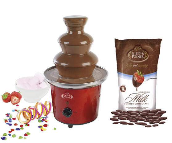 Giles & Posner Deluxe Red Chocolate Fountain with 450g Belgian Chocolate
