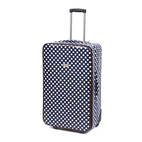 "Constellation Suitcase Travel Trolley, 28"", Navy Polka Dot Thumbnail 1"