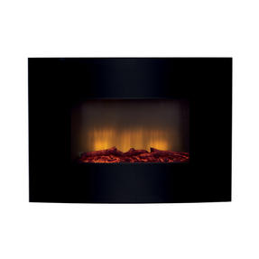 Beldray EH0815 Parma Curved Black Log Effect Wall Fire Thumbnail 1