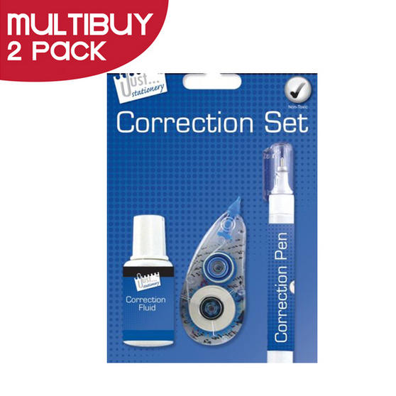 Just Stationery Correction Fluid Set (Pack of 3) Multi Buy Pack of 2
