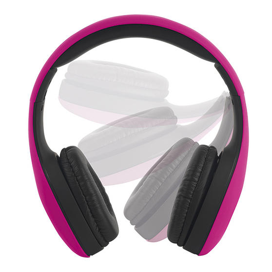 Intempo Pink Foldable Over Ear Headphones With Rubber Finish