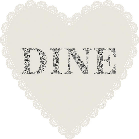 Indulje Set Of 2 Lazer Cut MDF Heart Doily Placemats With Dine Text 29cm x 29cm