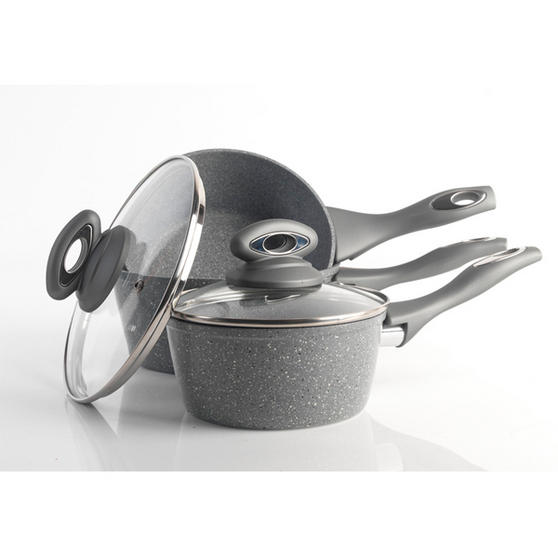Salter Marble Collection Forged Aluminium 3 Piece Saucepan Set, 16/18/20 cm, Grey