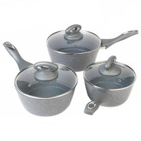 Salter Marble Collection Forged Aluminium 3 Piece Saucepan Set, 16/18/20 cm, Grey Thumbnail 1