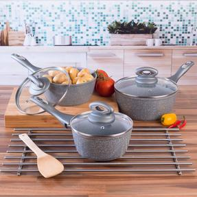 Salter Marble Collection Forged Aluminium 3 Piece Saucepan Set, 16/18/20 cm, Grey Thumbnail 4