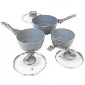 Salter Marble Collection Forged Aluminium 3 Piece Saucepan Set, 16/18/20 cm, Grey Thumbnail 6