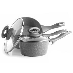 Salter Marble Collection Forged Aluminium 3 Piece Saucepan Set, 16/18/20 cm, Grey Thumbnail 9