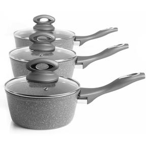 Salter Marble Collection Forged Aluminium 3 Piece Saucepan Set, 16/18/20 cm, Grey Thumbnail 10