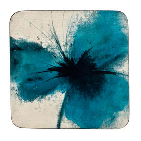 Inspire BCH218834 Luxury Powder Poppy Coasters, 10 x 10cm, Hardboard, Blue, Set of 4
