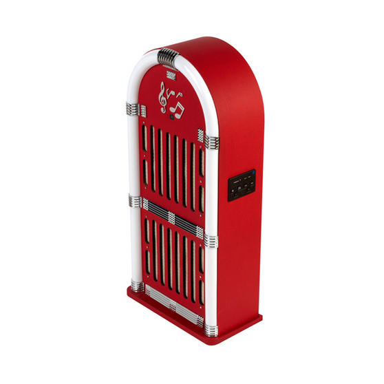 Intempo Red Bluetooth Jukebox With FM Radio And LED Flashing Lights