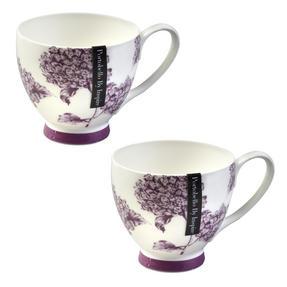 Portobello CM02305 Sandringham Hydrangea Bone China Mug, Set of 2