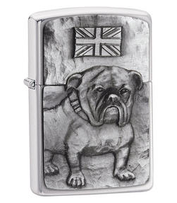 Zippo CAB1196 British Bulldog Emblem Lighter in Black Presentation Box, Brushed Chrome