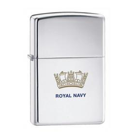 Zippo CAB1314 Royal Navy Emblem Lighter in Black Presentation Box, Chrome
