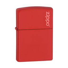 Zippo Lighter with Zippo Logo in Black Presentation Box, Red Matte